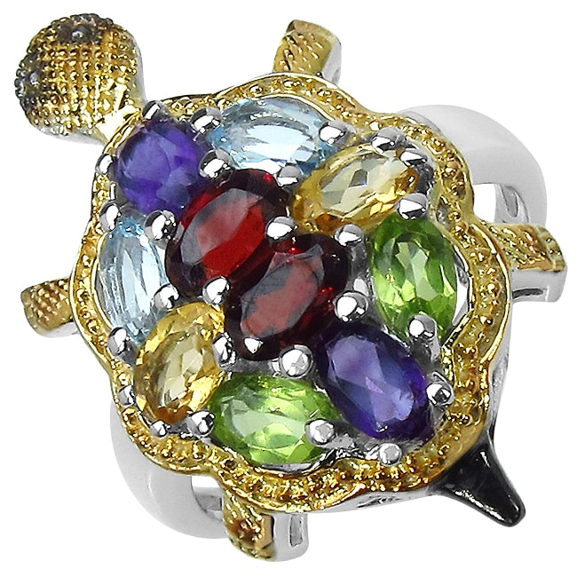 Malaika Sterling Silver Multi-gemstone Turtle Ring