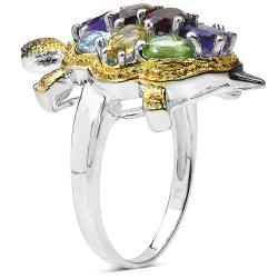 Malaika Sterling Silver Multi-gemstone Turtle Ring - Thumbnail 1