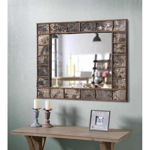 "Jobi 38"" Wall Mirror - Natural Birch Wood"