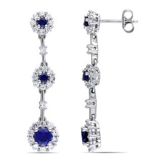 Miadora Sterling Silver Blue and White Sapphire Flower Birthstone Graduated Drop Earrings