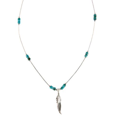 Southwest Moon Feather Turquoise Heishi Liquid Metal 16-inch Necklace - Blue