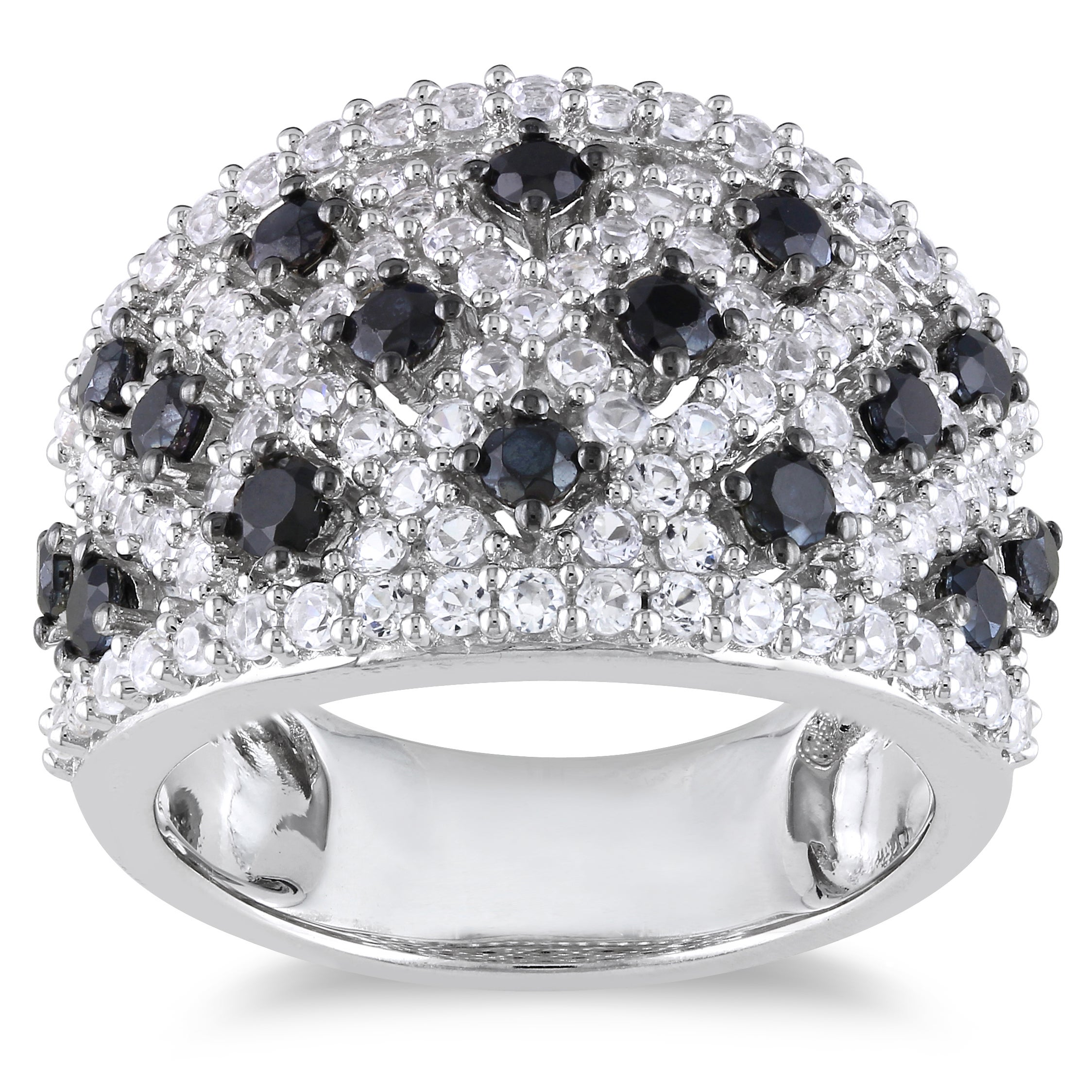 Miadora Sterling Silver Black Spinel and White Sapphire Ring