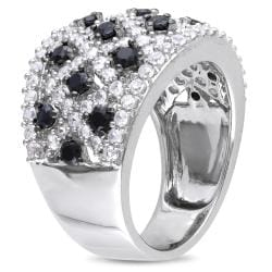 Miadora Sterling Silver Black Spinel and White Sapphire Ring - Thumbnail 1