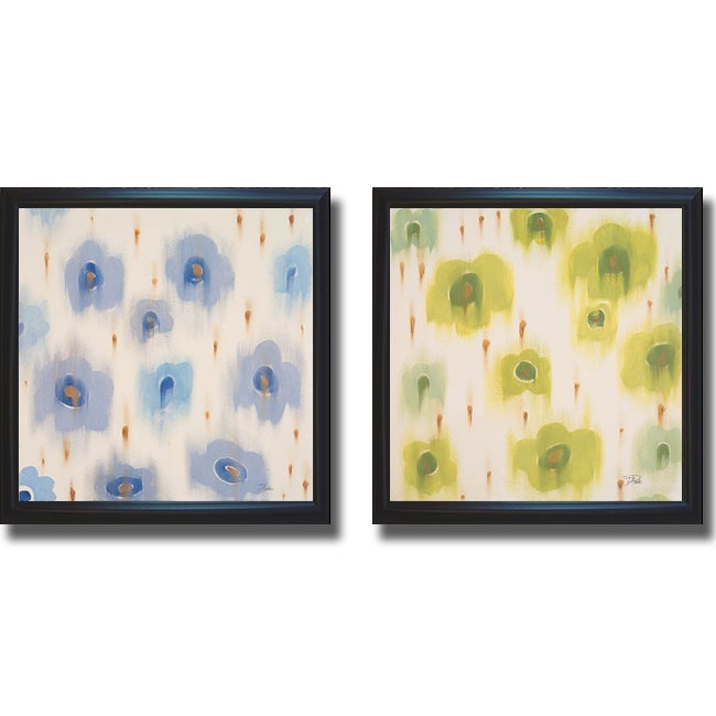 Patricia Pinto 'Green Bloom and Blue Bloom' Framed 2-piece Canvas Art Set
