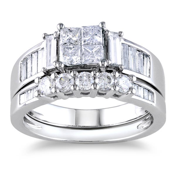 Miadora Signature Collection 14k White Gold 1 1/2ct Princess CutTDW Diamond Bridal Ring Set
