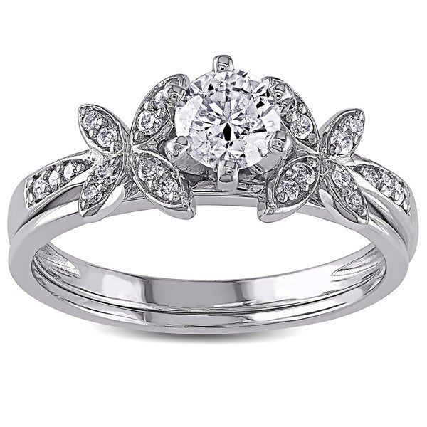 Miadora Signature Collection 10k White Gold 5/8ct TDW Diamond Bridal Set (G-H, I2-I3)