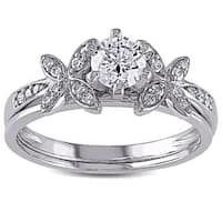 Miadora Signature Collection 10k White Gold 5/8ct TDW Diamond Bridal Set