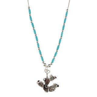 Southwest Moon Cactus Turquoise Heishi Liquid Metal 16-inch Necklace