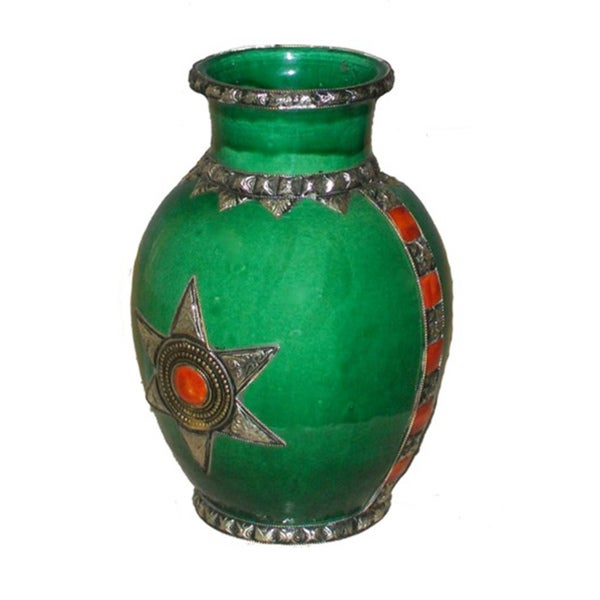 Lime Green Ceramic Vase with Silver Trim (Morocco)
