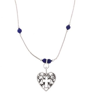 Southwest Moon Cross In Heart Lapis Bead Liquid Metal 16-inch Necklace