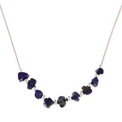 Southwest Moon Lapis Chip Liquid Metal 16-inch Necklace