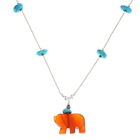 Southwest Moon Carnelian Bear and Turquoise Liquid Metal 16-nch Pendant Necklace - Blue