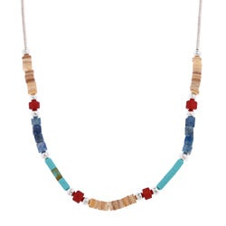 Southwest Moon Multi-gemstone Heishi Liquid Metal 16-inch Necklace