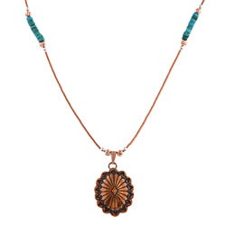 Southwest Moon Concho Green Turquoise Heishi Liquid Copper 16-inch Pendant Necklace