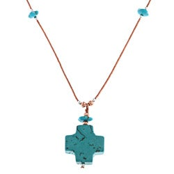 Southwest Moon Dyed Blue Howlite Cross Liquid Copper 16-inch Necklace