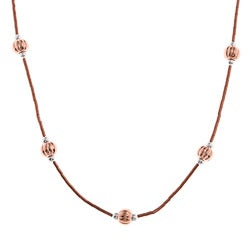 Southwest Moon Copper Twisted Bead Station Liquid Metal 16-inch Necklace