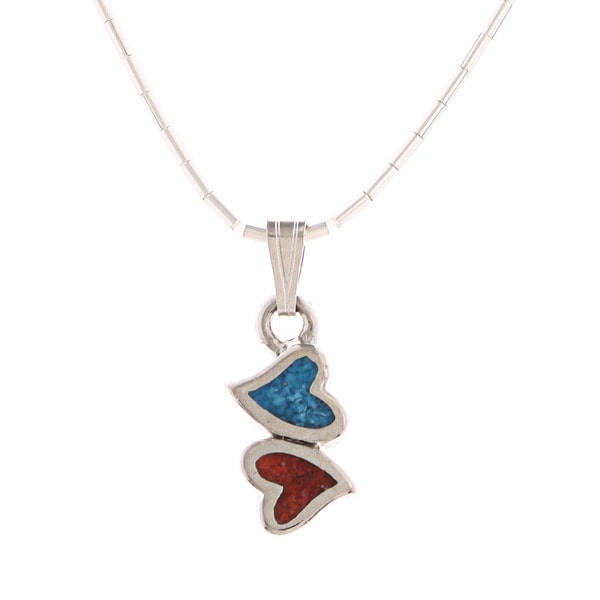 Southwest Moon Double Hearts Turquoise and Coral Inlay Liquid Metal Pendant Necklace