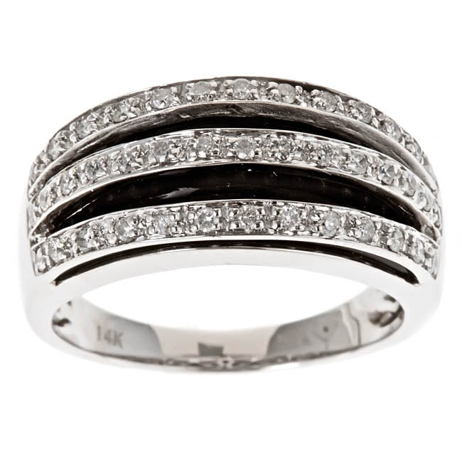 Anika and August 14k White Gold Inlaid Onyx and 1/3ct TDW Diamond Ring