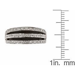 Anika and August 14k White Gold Inlaid Onyx and 1/3ct TDW Diamond Ring - Thumbnail 2
