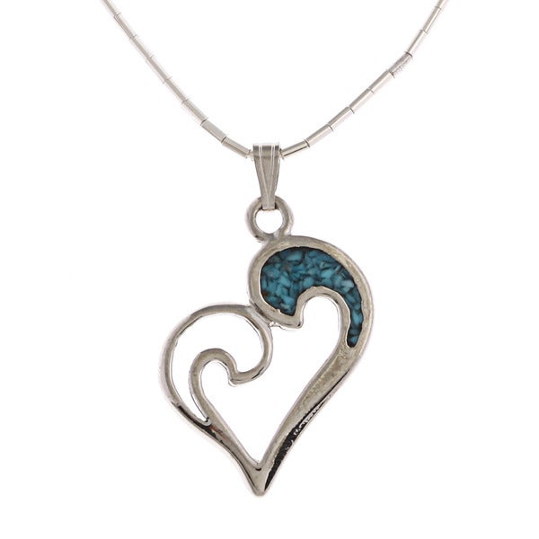 Southwest Moon Swirl Heart Turquoise Inlay Liquid Metal 16-inch Pendant Necklace