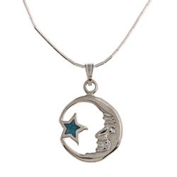 Southwest Moon Moon and Star Turquoise Inlay Liquid Metal 16-inch Pendant Necklace - Blue