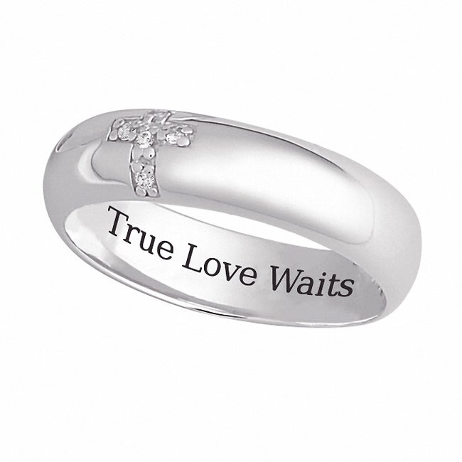 Sterling Silver 'True Love Waits' CZ Cross Band - Thumbnail 0