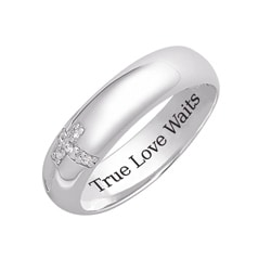 Sterling Silver 'True Love Waits' CZ Cross Band - Thumbnail 1