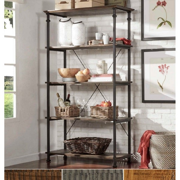 Myra Vintage Industrial Modern Rustic 40 Inch Bookcase By INSPIRE Q Classic