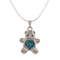 Southwest Moon Teddy Bear Turquoise Inlay Liquid Metal 16-inch Pendant Necklace - Blue