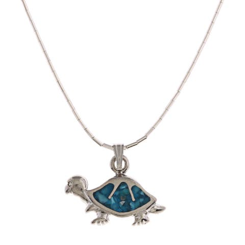 Southwest Moon Turtle Turquoise Inlay Liquid Metal 16-inch Pendant Necklace - Blue