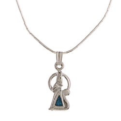Southwest Moon Silvertone Turquoise Inlay Howling Wolf Necklace - Blue
