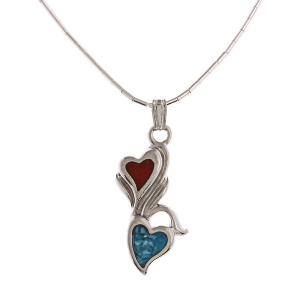 Southwest Moon Floral Hearts Turquoise and Coral Inlay Liquid Metal Pendant Necklace - Blue