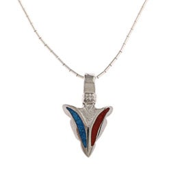 Southwest Moon Arrowhead Turquoise and Coral Inlay Liquid Metal 16-inch Pendant Necklace
