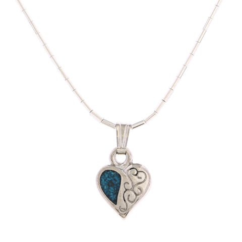 Southwest Moon Filigree Heart Turquoise Inlay Liquid Metal 16-inch Pendant Necklace - Blue