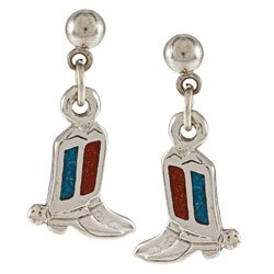 Southwest Moon Silvertone Turquoise and Coral Inlay Cowboy Boots Dangle Earrings