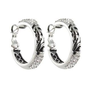 Sunstone Sterling Silver Crystal 'Bali Bling' Filigree Pave Hoop Earrings