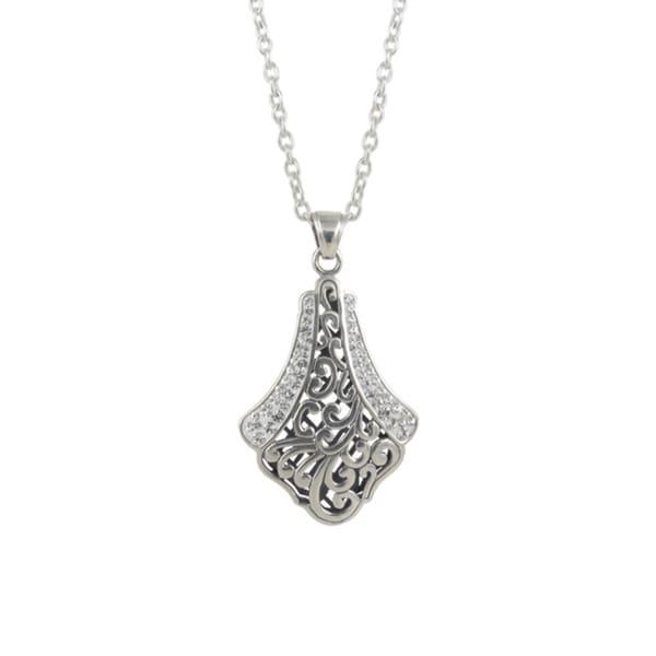 Sunstone Sterling Silver Crystal 'Bali Bling' Filigree Pave Teardrop Necklace