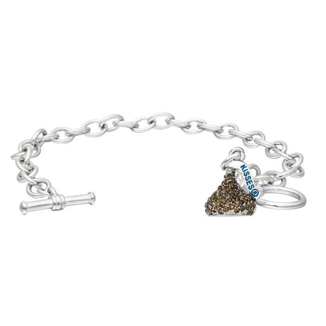 Silvertone Brown Crystal Hershey's Kiss Bracelet