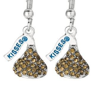 Silvertone and Brown Crystals Flat Back Hershey's Kiss Small Lever Back Earrings