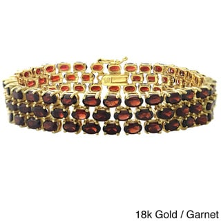 Glitzy Rocks Silvertone or Gold Overlay Gemstone 3-tier Bracelet