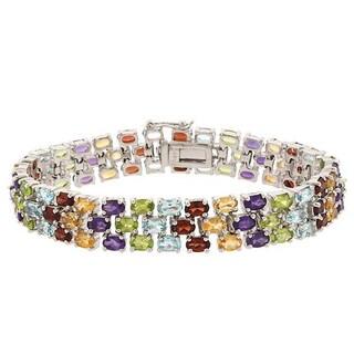 Link to Glitzy Rocks Silvertone or Gold Overlay Gemstone 3-tier Bracelet Similar Items in Bracelets