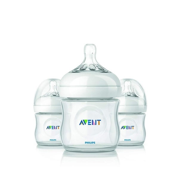 Philips Avent Natural BPA Free 0M+ 3 Feeding Bottles, 4 Oz SCF690/37
