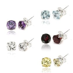 Glitzy Rocks Sterling Silver Gemstone 6mm Stud Earrings (Set of 5)(9 3/8ct TGW)