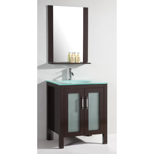 Shop Glass Top 28 Inch Single Sink Bathroom Vanity With Mirror Free Shipping Today Overstock