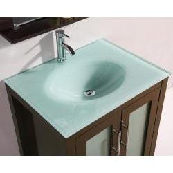 Glass Top 28-inch Single Sink Bathroom Vanity with Mirror ...