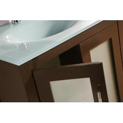 ... Glass Top 28 Inch Single Sink Bathroom Vanity With Mirror   Thumbnail 2