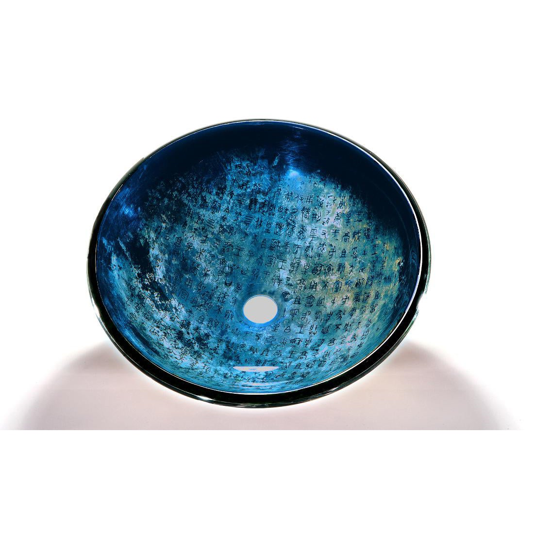 Blue Glass Bowl Vessel Bathroom Sink