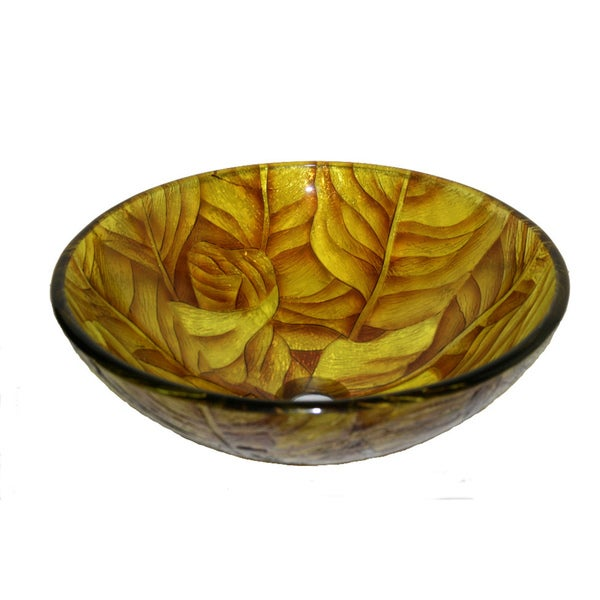 Yellow Leaf Glass Bowl Vessel Bathroom Sink