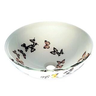 Butterfly Glass Bowl Vessel Bathroom Sink
