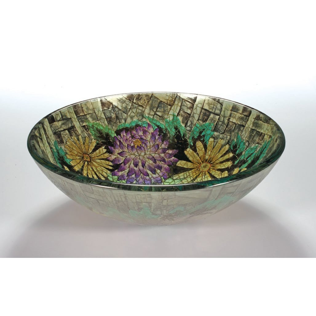 Floral Glass Bowl Vessel Bathroom Sink Free Shipping
